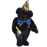 "15"" Celebration Bear - Standing jointed bear dressed in colorful diamond print party hat with ribbon streamers, a blue dot bow tie holding a party horn  - Black fur image number 3"
