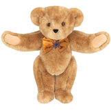 """15"""" Jewish Classic Bear - Front view of standing jointed bear dressed in gold velvet bow tie with Star of David in center - Honey brown fur image number 0"""