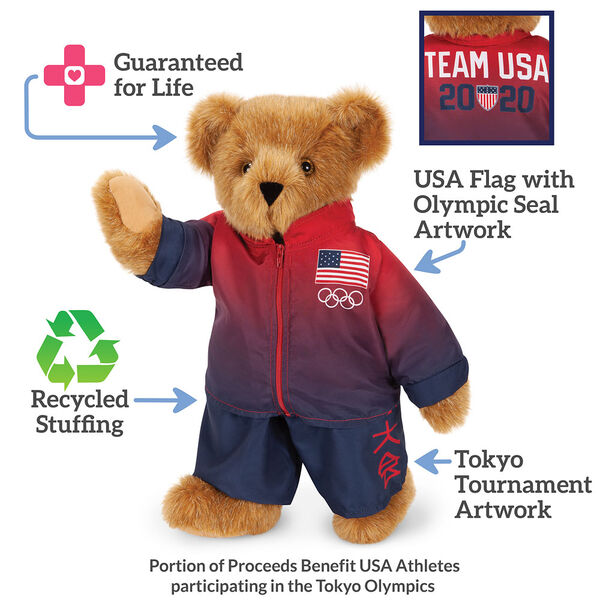 "15"" Team USA Olympic Bear - Front View of red and blue track suit with Tokyo Tournament Japanese characters on left pant leg and American flag and Olympic rings on the left chest of the jacket. Infographics read: Guaranteed for life, USA Flag with Olympic  image number 3"