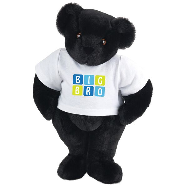 """15"""" BIG BRO T-Shirt Bear - Standing jointed bear dressed in white t-shirt with blue and green graphic that says, """"Big Bro' - Black fur image number 3"""