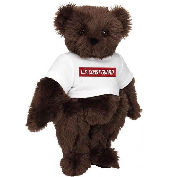 """15"""" Coast Guard T-Shirt Bear - Front view of standing jointed bear dressed in white t-shirt with dark red graphic that says, """"U.S. COAST GUARD"""" - Espresso brown fur image number 6"""