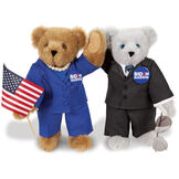 "15"" Joe Biden and Kamala Harris Bears - Standing Gray and Honey Brown Bears in business suits with campaign pins that say 'Biden / Harris' and holding aviator glasses and a flag image number 0"