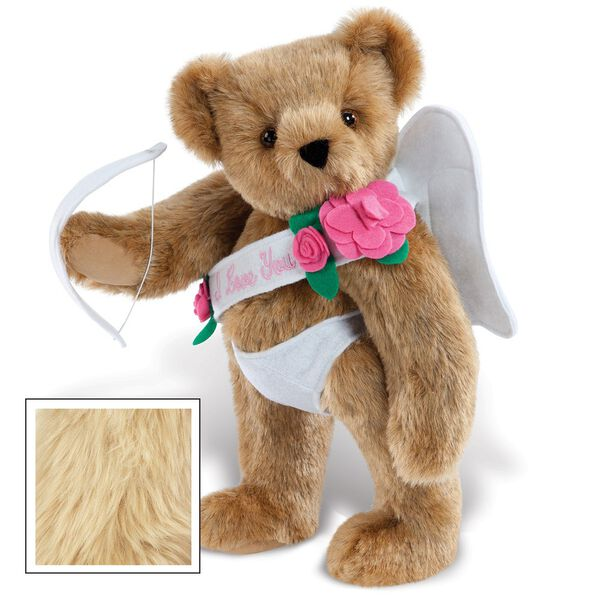 """15"""" Cupid Bear - Three quarter view of standing jointed bear dressed in white diaper, white sash with pink flowers and holding a cupid bow. Sash says """"I Love You"""" - Maple brown fur image number 4"""
