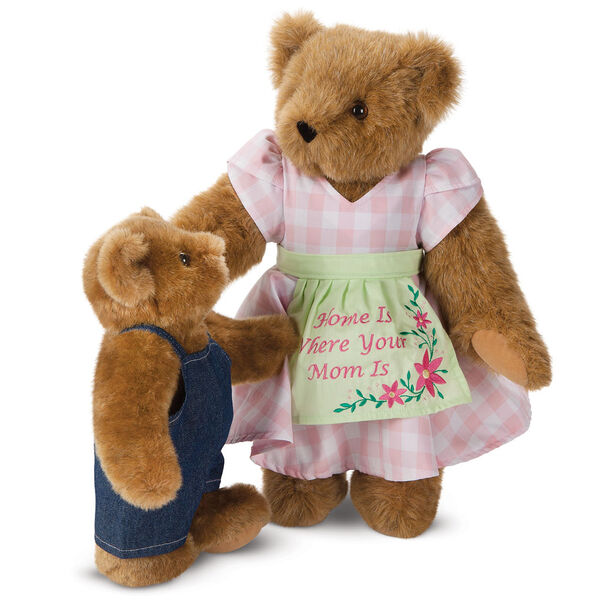 """15"""" Home Is Where Your Mom Is Bear - Front view of standing jointed bear wearing a pink gingham dress, green bow and apron with floral embroidery and says """"Home is Where Your Mom Is"""" with honey cub dressed in denim overalls - Honey brown fur image number 8"""