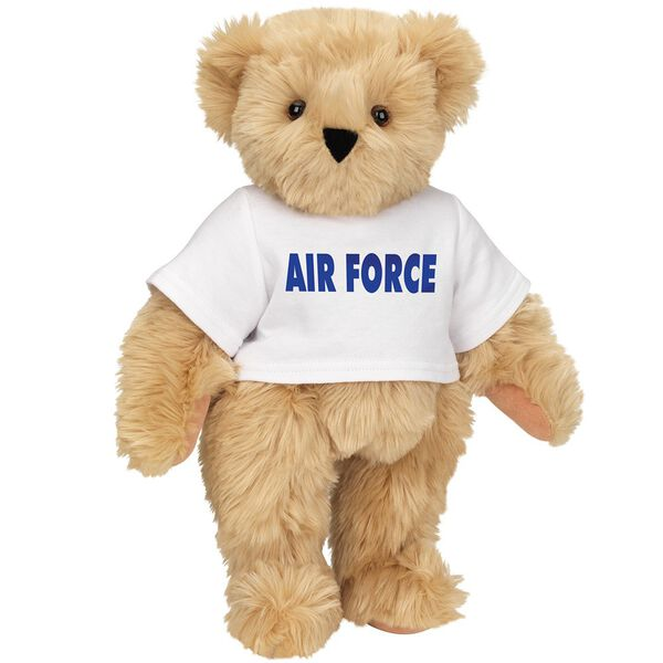 "15"" Air Force T-Shirt Bear - Standing jointed bear dressed in a white t-shirt says, ""AIR FORCE"" in royal blue lettering on the front of the shirt - Maple brown fur image number 6"