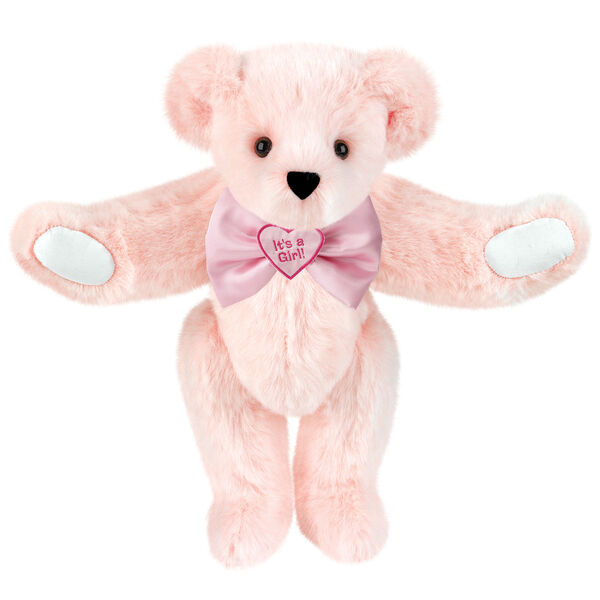 "15"" ""It's a Girl!"" Bow Tie Bear - Standing jointed bear dressed in light pink satin bow tie with ""It's a Girl!"" is embroidered on heart center - Light Pink fur image number 4"