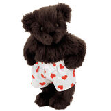 """15"""" Heart Throb Bear - Three quarter view of standing jointed bear dressed in white satin boxers with red hearts - Espresso brown fur image number 5"""