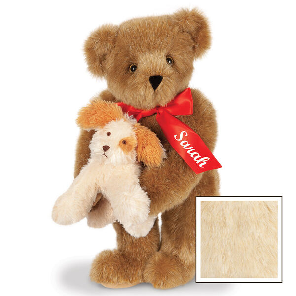 """15"""" Puppy Love Bear - 15"""" Standing Bear wearing a red satin bow and comes with plush puppy. Bow is personalized with """"Sarah"""" on the left tail - Buttercream image number 4"""