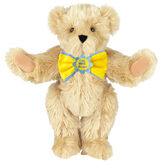 """15"""" """"Get Well"""" Bow Tie Bear - Standing jointed bear dressed in yellow bow tie with blue trim; """"Get Well Soon"""" is embroidered on floral center - long Maple brown fur image number 4"""