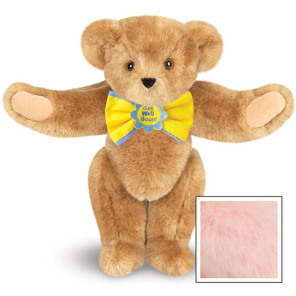 """15"""" """"Get Well"""" Bow Tie Bear - Standing jointed bear dressed in yellow bow tie with blue trim; """"Get Well Soon"""" is embroidered on floral center - Pink image number 5"""