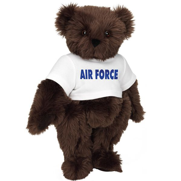 "15"" Air Force T-Shirt Bear - Standing jointed bear dressed in a white t-shirt says, ""AIR FORCE"" in royal blue lettering on the front of the shirt - Espresso brown fur image number 7"