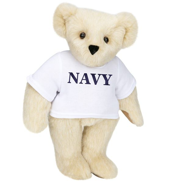 """15"""" Navy T-Shirt Bear - Front view of standing jointed bear dressed in white t-shirt with navy blue graphic that says, """"Navy"""" - Buttercream brown fur image number 1"""