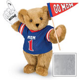 """15"""" Mom's Biggest Fan Bear - Front view of standing jointed bear dressed in a blue shirt with """"Mom 1"""" on front, holding a white foam finger that says """"#1 Mom"""" and a """"Go Mom"""" red flag - Gray image number 4"""