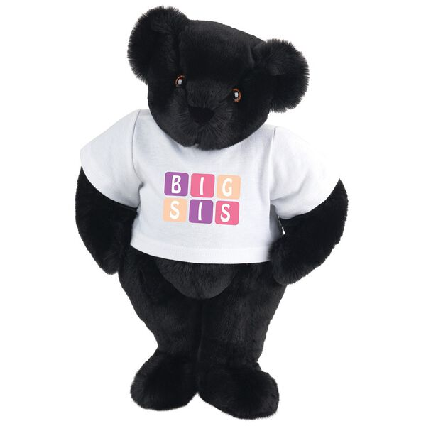 "15"" BIG SIS T-Shirt Bear - Standing jointed bear dressed in white t-shirt with pink and purple graphic that says, ""BIG SIS' - Black fur image number 3"
