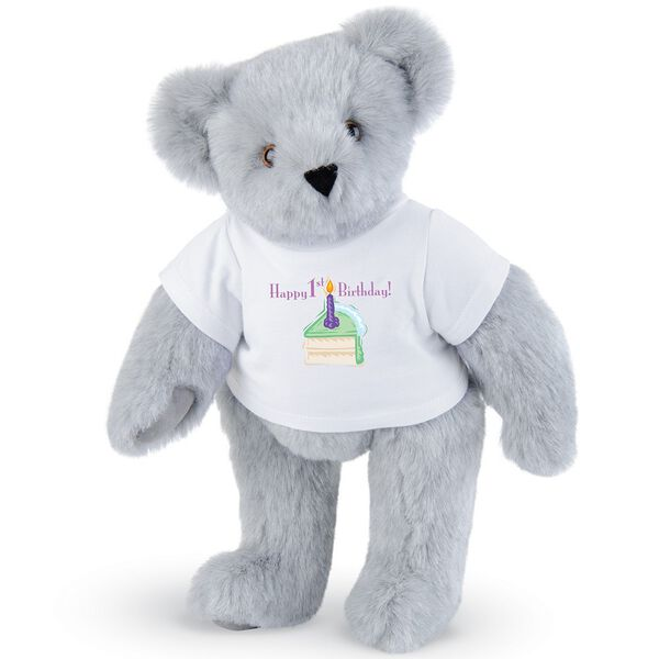 """15"""" 1st Birthday T-Shirt Bear- Vanilla Cake - Standing jointed bear dressed in a white t-shirt with a slice of vanilla cake artwork that says, """"Happy 1st Birthday!"""" on the front of the shirt - Gray fur image number 4"""