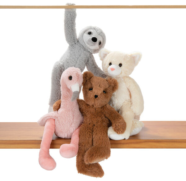 "15"" Buddy Kitten - Slim honey brown bear, pink flamingo, gray sloth and tan kitten posing on a shelf image number 3"
