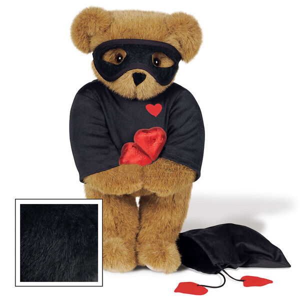 """15"""" Love Bandit Bear - Front view of standing jointed bear dressed in black turtleneck with red heart on left chest, black mask and holding a black bag with 2 chocolates - Black image number 3"""