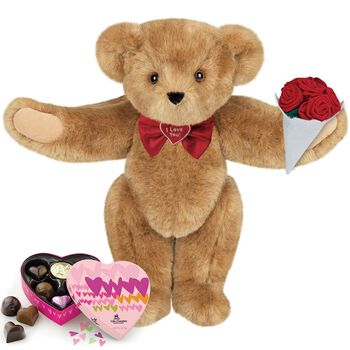 """15"""" """"I Love You"""" Bow Tie Bear with Roses and Chocolates"""