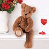 """15"""" Buddy Bear - Slim honey brown bear seated on white shelf with roses and hearts  image number 2"""