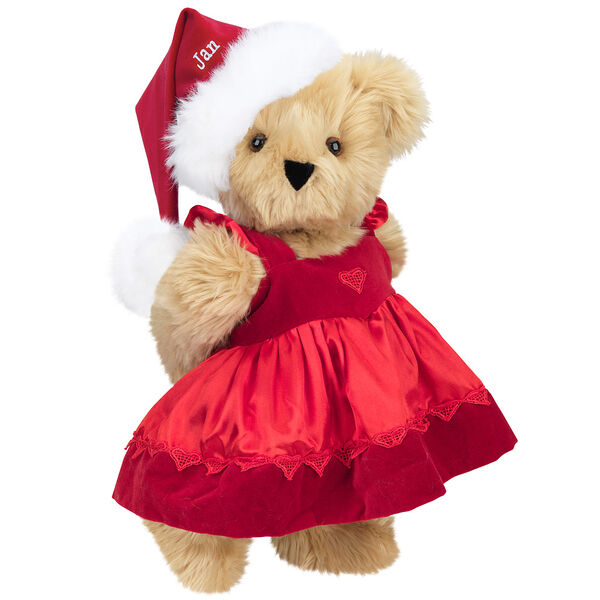 """15"""" Christmas Sweetheart Bear - Standing jointed bear dressed in white red velvet dress with heart lace trim and red velvet santa hat with white fur trim. Hat is personalized with """"Jan"""" above the fur  - Maple brown fur image number 4"""