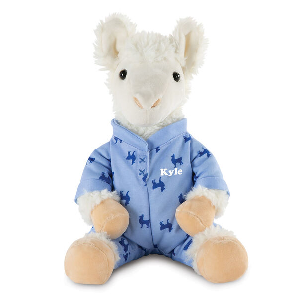 "13"" PJ Pal Llama - Front view of seated white Llama in blue cotton onesie pajamas with llama print personalized with ""Kyle"" in white lettering image number 0"