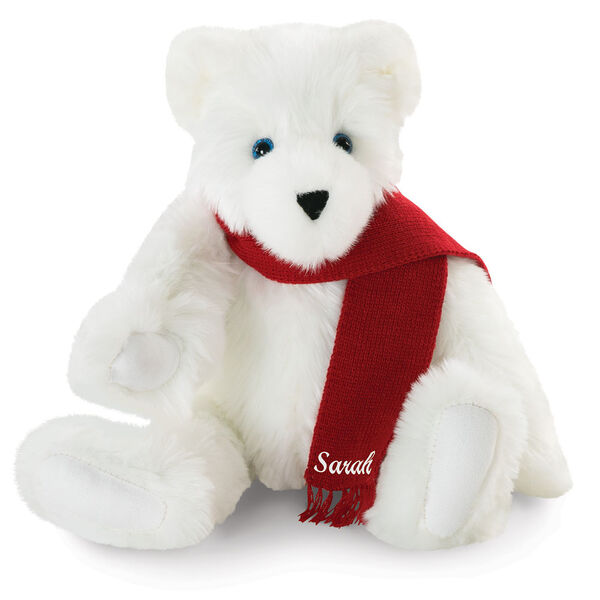"15"" Classic Polar Bear - Front view of seated jointed polar bear with blue eyeswears a red knit scarf personalized with ""Sarah"" in white - Snow white fur image number 1"