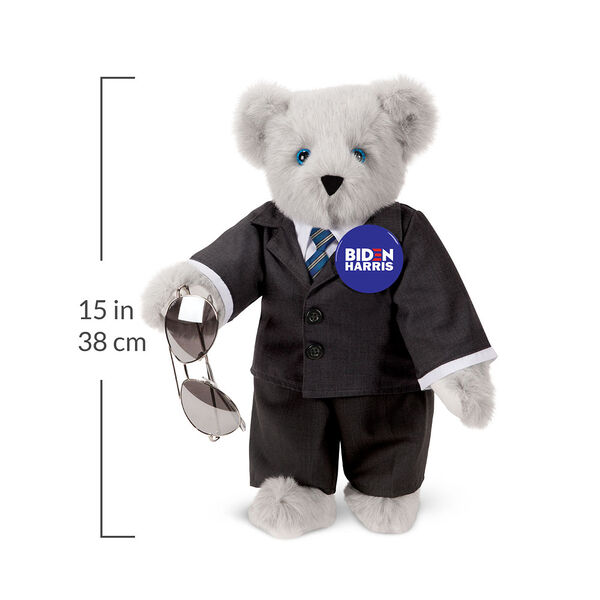 "15"" Joe Biden Bear - Standing Gray Bear with Blue eyes, black suit, blue tie, aviator glasses, and campaign pin with a 15 inch measurement to the right of the bear.  image number 2"