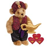 """15"""" Your Wish Is My Command Bear - Front view of standing jointed bear dressed in a red brocade turban and vest, purple belt and black satin pants. Comes with gold genie lamp and 3 wish cards - Honey brown fur image number 0"""