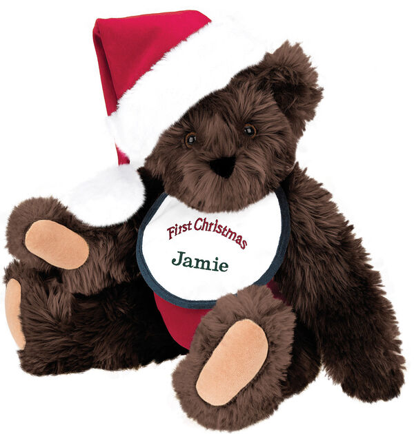"15"" Baby's First Christmas Bear - Seated jointed bear dressed in red velvet diaper with santa hat and white and green bib that says ' First Christmas' in red lettering. Bib is personalized with ""Jamie"" in dark green lettering - Espresso brown fur image number 5"