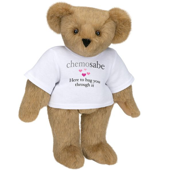 "15"" Chemosabe T-Shirt Bear - Standing jointed bear dressed in white t-shirt with gray and pink graphic with hearts that says, ""chemosabe, Here to hug you through it"" - Honey brown fur image number 0"
