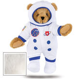 """15"""" Astronaut Bear - Standing jointed bear dressed in white space suit, boots and helmet with blue trim, embroidered patches and American flag - Vanilla white fur image number 6"""