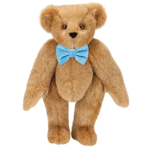 "15"" Classic Bow-Tie Bear - Standing jointed bear dressed in velvet bow tie - Honey brown fur image number 2"