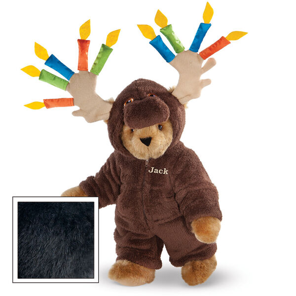 "15"" Moose Be Your Birthday! Bear - Front view of standing jointed bear dressed in a brown hoodie footie with birthday candles on the tan antlers personalized with ""Jack"" on left chest in gold lettering - Black fur image number 3"