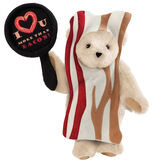 """15"""" I Love You More than Bacon - Front view of standing jointed bear dressed in tan bacon costume holding a pan that says""""I """"heart"""" U more than bacon!"""" - Buttercream brown fur image number 1"""