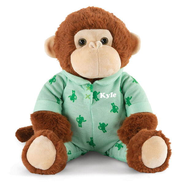 """13"""" PJ Pal Monkey - Front view of seated cinnamon brown Monkey with tan muzzle in green cotton onesie pajamas with Monkey print personalized with """"Kyle"""" in white lettering image number 0"""