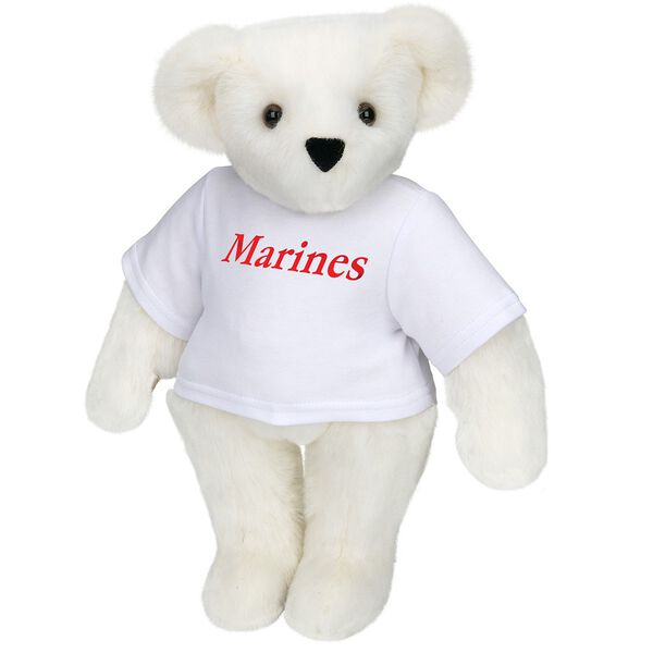 "15"" Marines T-Shirt Bear - Front view of standing jointed bear dressed in white t-shirt with red graphic that says, ""Marines"" - Vanilla white fur image number 2"