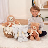 "13"" Cuddle Cub Bear with Bow - Bear, Elephant and Sloth in a bedroom scene with a boy in pajamas image number 7"