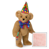 "15"" Celebration Bear - Standing jointed bear dressed in colorful diamond print party hat with ribbon streamers, a blue dot bow tie holding a party horn  - Pink image number 5"