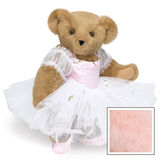 """15"""" Ballerina Bear - Standing jointed bear dressed in pink satin and tulle dress and ballet slippers. Center front of dress is personalized with """"Hannah"""" in bright pink lettering - Pink image number 5"""