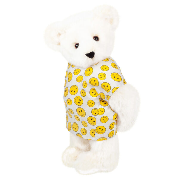 "15"" Get Well Bear - Three quarter view of standing jointed bear dressed in a white johnny with yellow happy faces - Vanilla white fur image number 2"