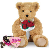 """20"""" World's Softest Bear with Roses and Chocolates - 20"""" seated golden brown bear with brown eyes holding a red rose bouquet and heart box of chocolates. image number 0"""