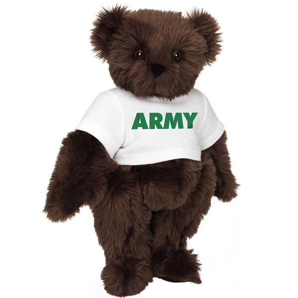 "15"" Army T-Shirt Bear - Standing jointed bear dressed in a white t-shirt says, ""ARMY"" in green lettering on the front of the shirt - Espresso brown fur image number 6"