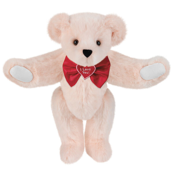 """15"""" """"I Love You"""" Bow Tie Bear - Standing jointed bear dressed in red satin bow tie; """"I Love You""""  is embroidered on red satin heart center - Light Pink fur image number 4"""