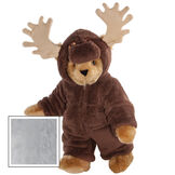 """15"""" Moose Bear - Front view of standing jointed bear dressed in a brown hoodie footie with tan antlers  - Gray image number 4"""