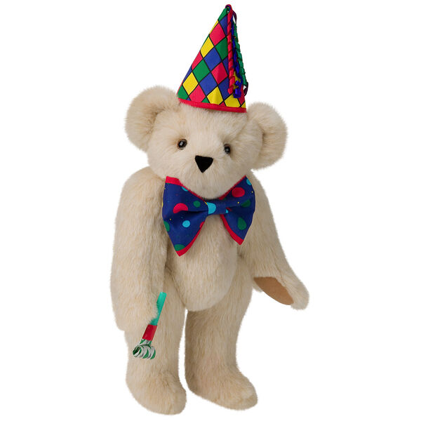 "15"" Celebration Bear - Standing jointed bear dressed in colorful diamond print party hat with ribbon streamers, a blue dot bow tie holding a party horn  - Buttercream brown fur image number 1"