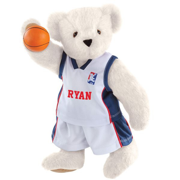 "15"" Basketball Bear - Standing jointed bear dressed in white jersey and shorts with blue and red trim. Bear comes with orange basketball. Center front of shirt is personalized with ""Ryan"" in red lettering - Vanilla white fur image number 2"