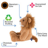 "18"" Oh So Soft Lion - Side view of seated 18"" brown lion with white muzzle and golden brown mane text reads ""Signature Eyes; Guaranteed For Life; Extra Long Fur Mane; Premium Fur; Recycled Stuffing"".  image number 1"