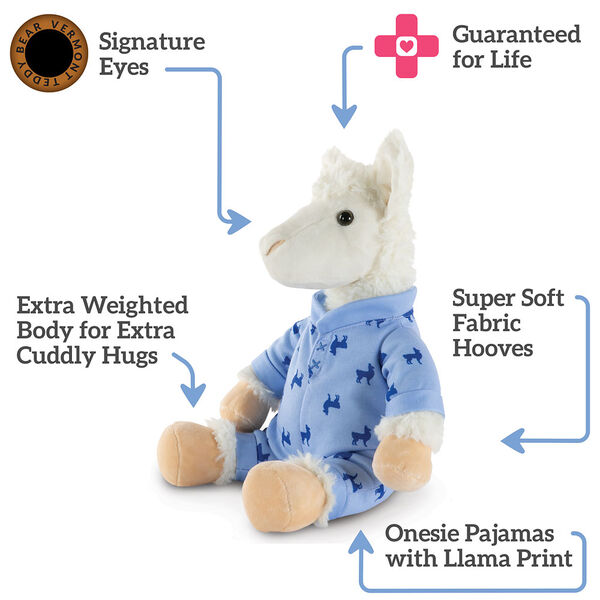 "13"" PJ Pal Llama - Three quarter view of seated white Llama in blue cotton pajamas. Text reads, ""Signature Eyes; Guaranteed For Life; Super Soft Fabric Hooves; Onesie pajamas with Llama Print; Extra Weighted Body for Extra Cuddly Hugs"".  image number 3"