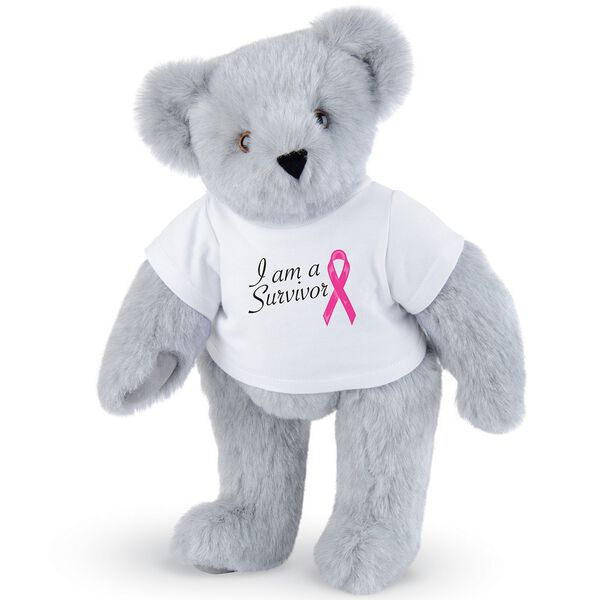 """15"""" Breast Cancer Survivor T-Shirt Bear - Standing jointed bear dressed in white t-shirt with bright pink cancer ribbon and says, """" I am a Survivor"""" - Gray fur image number 4"""