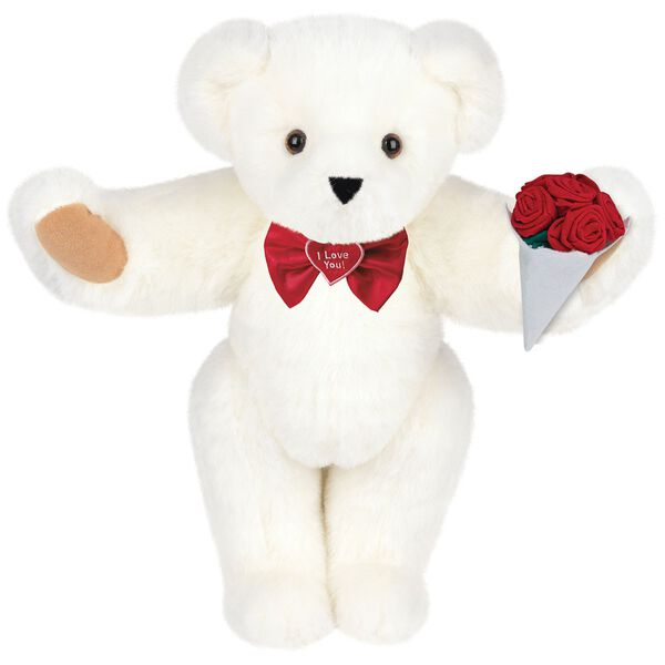 """15"""" """"I Love You"""" Bow Tie Bear with Red Roses - Standing jointed bear dressed in red satin bow tie; """"I Love You""""  is embroidered on red satin heart center -Vanilla White fur image number 2"""
